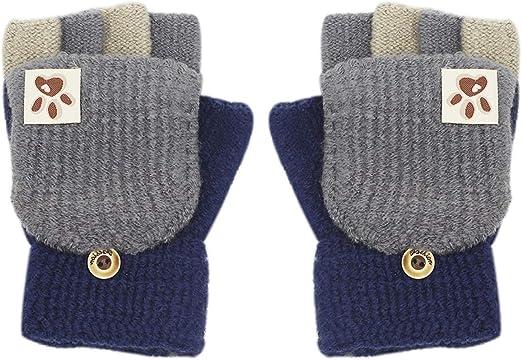 Boao 3 Pairs Kids Fingerless Mittens Convertible Flip Top Gloves Children Soft Knitted Gloves for Boys Girls
