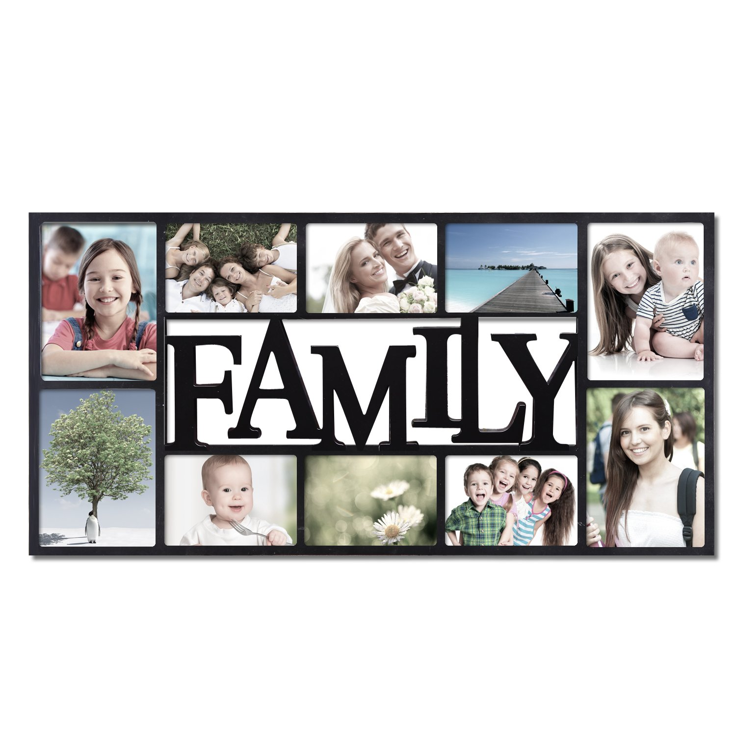 Amazon adeco 10 openings decroative black family wall amazon adeco 10 openings decroative black family wall hanging collage picture frame made to display four 5x7 and six 4x6 photos jeuxipadfo Gallery