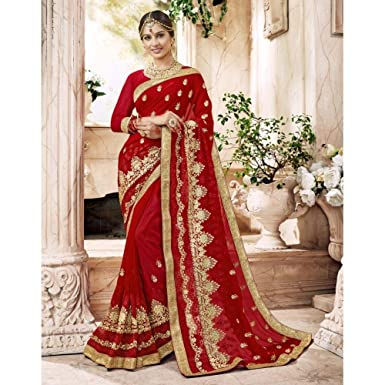 d6ed75cbe8e Amazon.com  Triveni Embroidered Pure Georgette Red Saree for Women  Clothing