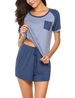 1fbe9e3758 HOTOUCH Damen Schlafanzug kurz Baumwolle Shorty 2-TLG. Pyjama Set  Nachtwäsche Kurzarm Shirt Shorts