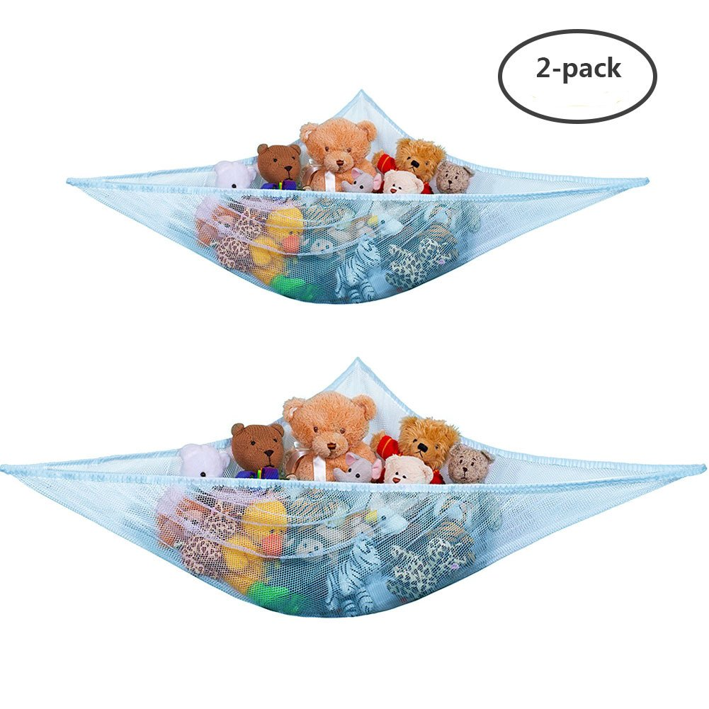 Yuccer Toy Storage Hammock for Stuffed Animals Teddies, Large Mesh Toys Holder Net Organiser with 3 Strong Hooks for Kids Bedroom (Blue, 7ft)