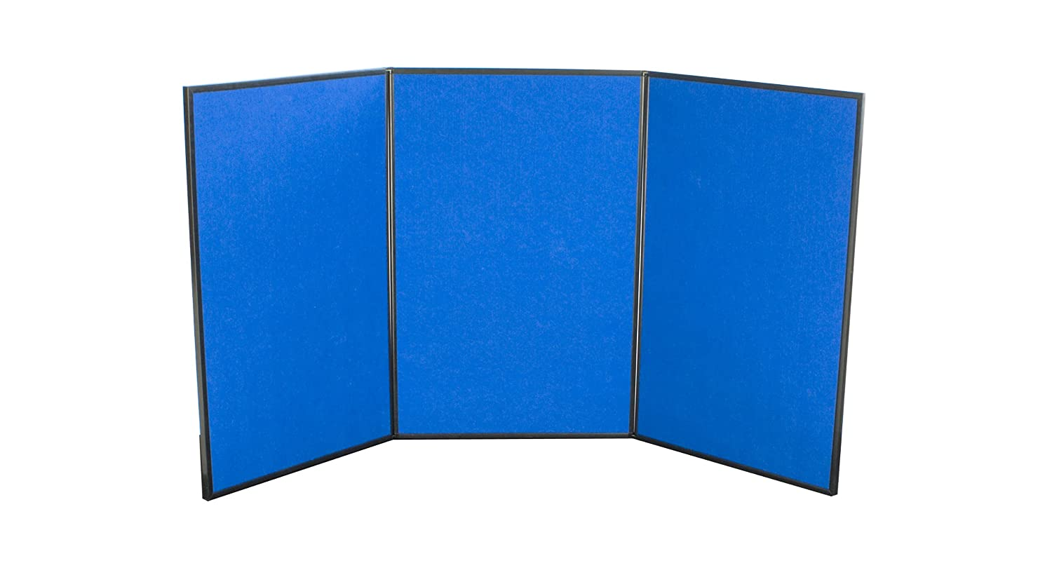 Displays2go Tri Fold 3-Panel Display Board, 72 x 36 Inches, with Blue Velcro-Receptive Fabric and Write-On Whiteboard (3PV7236BLU) George Patton Associates