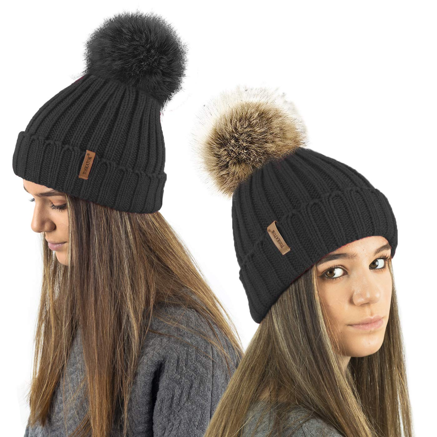 af2e5bb6b15 TOSKATOK® Ladies Girls Chunky 3 in 1 Rib Beanie Hat with 2 Interchangeable  Large Faux Fur Pompoms