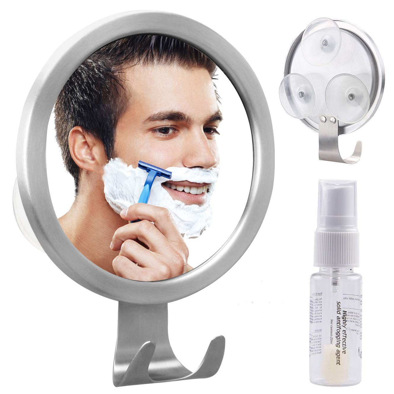 Shower Mirror, LUXEAR Fog Free Mirror for Shower with Suction Razor Hook Comes with Anti-Fog Agent, Antifog Mirror Shower Ideal for Bathroom Mirror, Shower Mirror and Traveling by LUXEAR