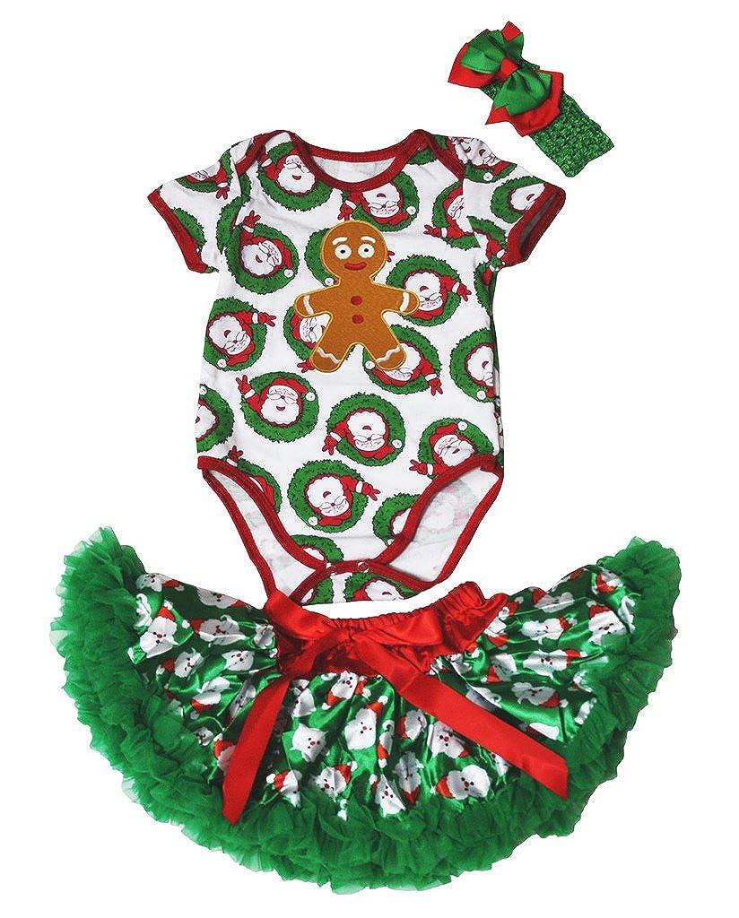 Petitebella Xmas Gingerbread Santa Claus Bodysuit Romper Green Baby Skirt Nb-12m