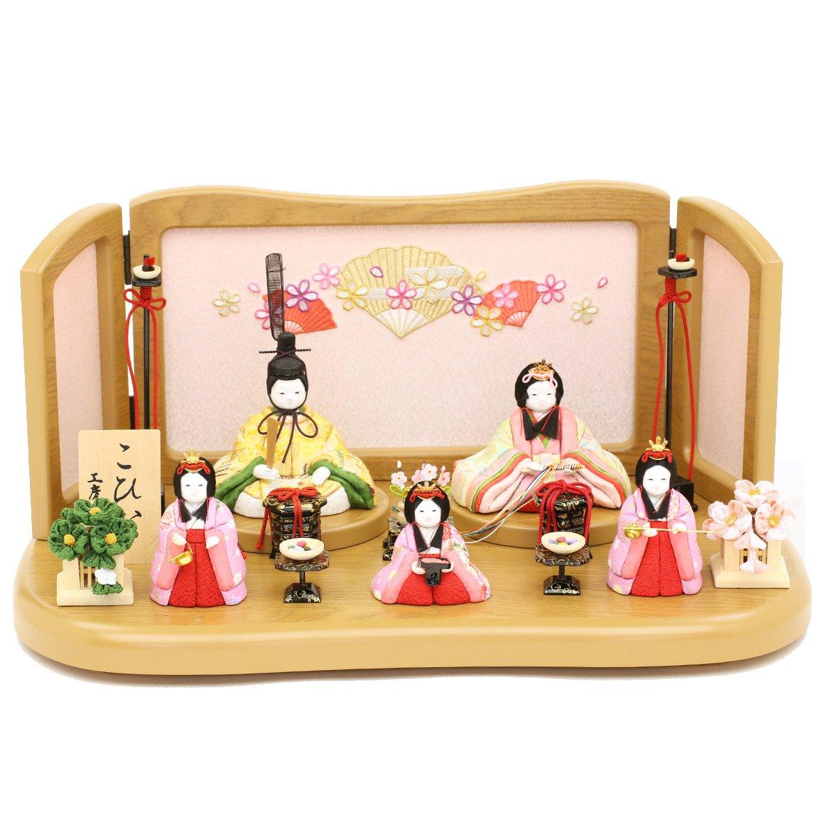 人形工房天祥 雛人形 こひな 五人飾り 木目込み「こひな 桜扇シリーズ 古典文様柄」   B077QMNMHY
