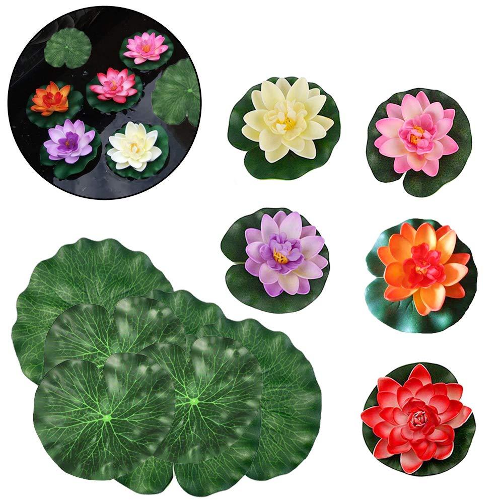 Artificial Lotus Flower Floating Flower Waterproof Lotus Flower For Wedding Aquariums Decoration 10 Pcs SwirlColor