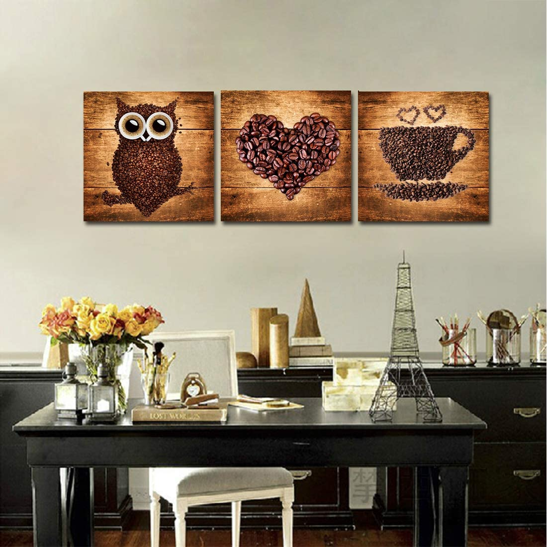 A Cup of Tea Creative Coffee Bean Painting Canvas Print Owl Heart Cup Picture Wall Art for Home Kitchen Cafe Bar Restaruant Wall Decor Modern Artwork 3pcs 12