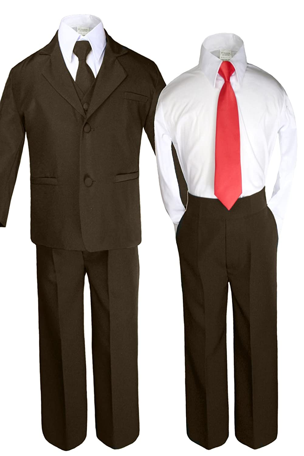 Unotux 6pc Boys Dark Brown Suits Sets with Satin Red Necktie Outfits All Size