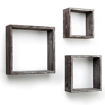 BESTOOL - Estantes flotantes para pared, diseño rústico con caja abierta para decoración de pared (3 unidades, 8 x 12 x 10): Amazon.es: Hogar