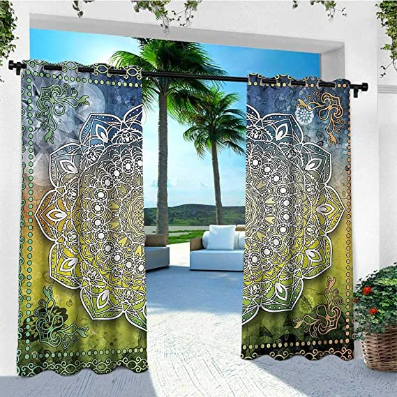 Amazon.com : leinuoyi Ethnic, Outdoor Curtain Modern, Mystic Asian Mandala Zen Culture Chakra Karma Calmness and Harmony Icon Boho Design, Fabric by The ...