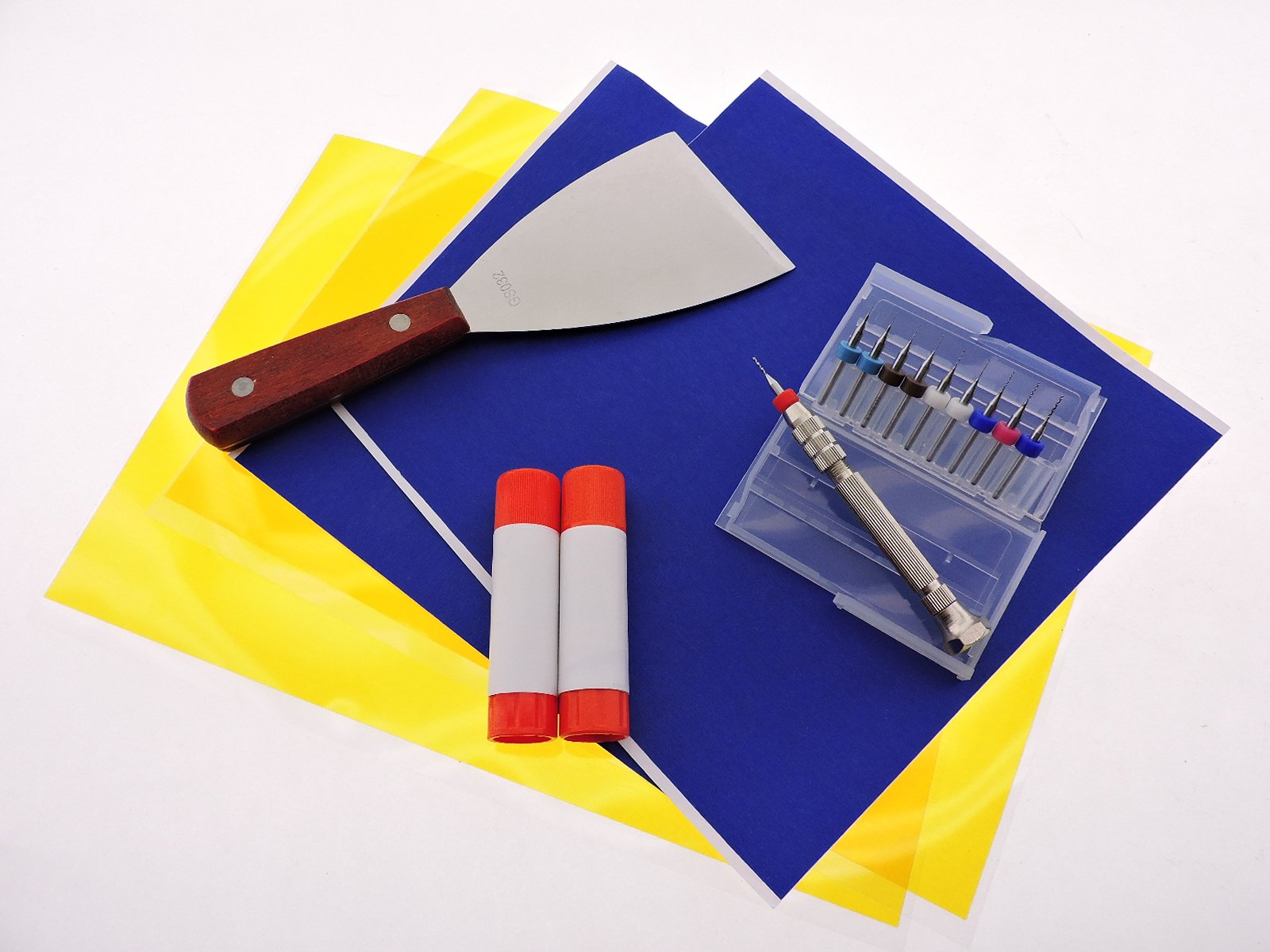 3D Printer Parts Accessories Kit ABS Blue painters tape PLA Kapton Tape + Print bed removal tool + Glue Sticks + (2each) .2mm .3mm .4mm (1each) .5mm .6mm .8mm 1.0mm Clogged Nozzle Bits + Pin-Vise by Daewon Industries