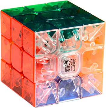 YJ Moyu 3X3X3 Yulong Transparent Colour Stickerless Plastic Cube Puzzle