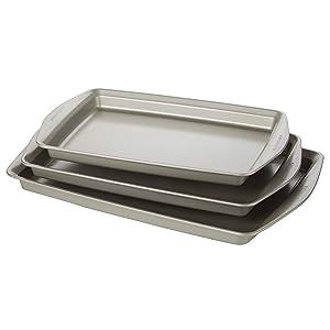 Rachael Ray 47683 3-Piece Steel Bakeware Set Silver