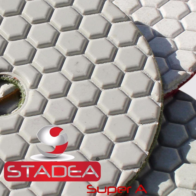 STADEA 4'' Dry Diamond Polishing Pads for granite Marble Concrete Stone Granite Tile Polishing Kit - 5 Pcs Pads, 1 Rubber Backer (5/8'' 11) Set by STADEA (Image #2)