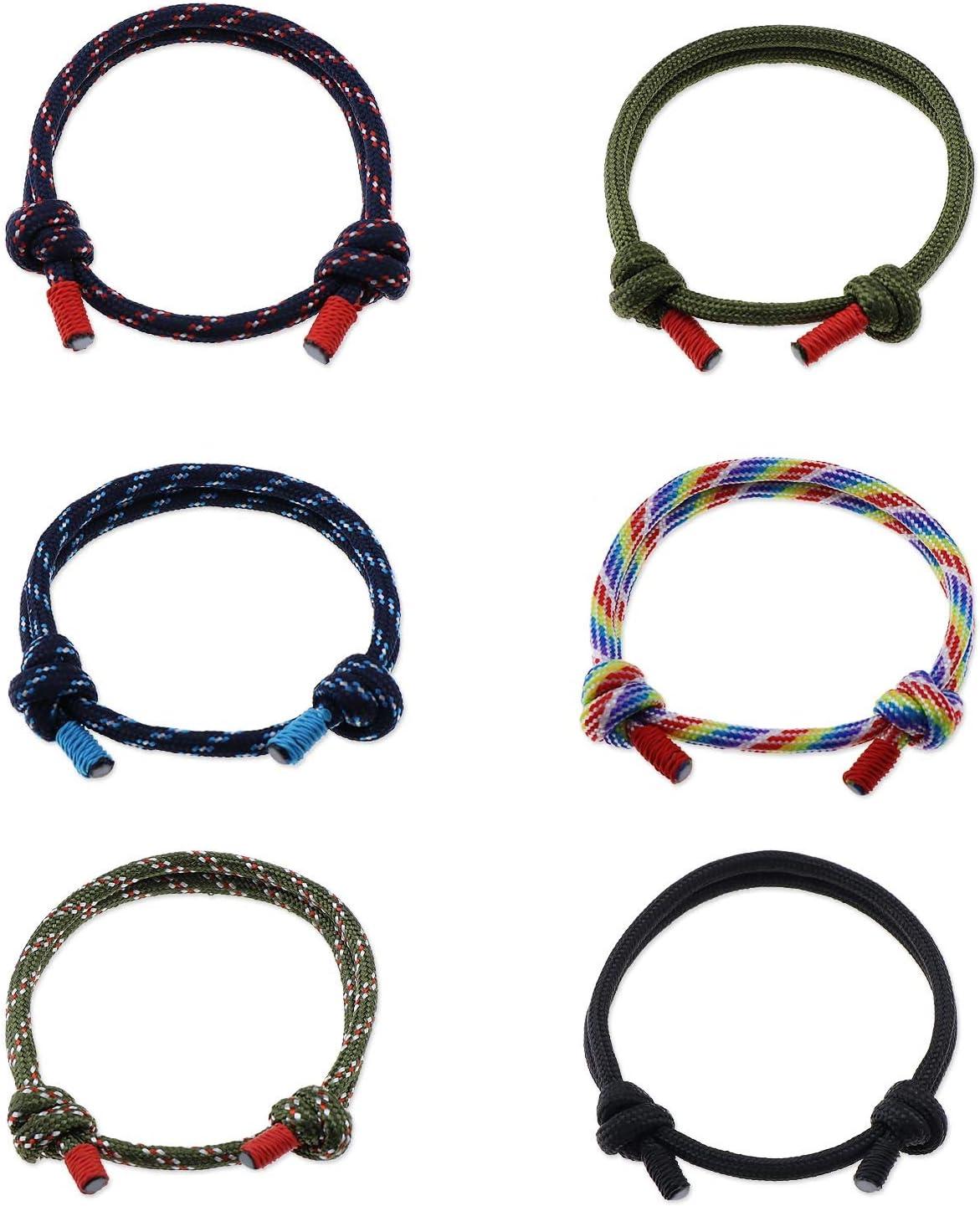 OTOTEC 6pcs Bracelets de Surfer Cordes Tress/ées Nautiques Corde Assorties Ensemble Unisexe /à Main R/églable
