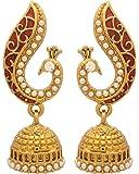 Voylla Peacock Inspired Pair Of Jhumki Earrings With Red Enamel