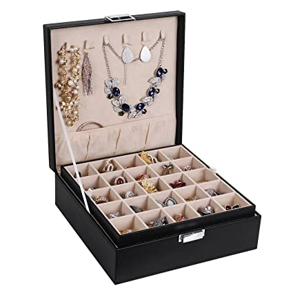 BEWISHOME 50 Slots Jewelry Box Earring Organizer 2 Stackable Trays Earring  Ring Jewelry Storage Box