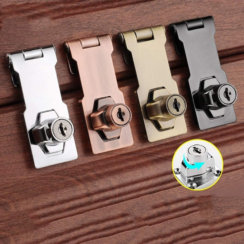 MUMA 4pcs Lock Hasp Door Bolt Latch Buckle With Padlock And Key Heavy Duty Safety Door Clasp Gate Lock Latch Color : Silver, Size : 2.5 inch