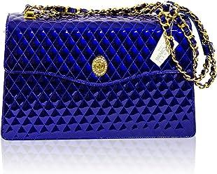 e6c578f34b70 Valentino Orlandi Italian Designer Cobalt Blue Quilted Leather Messenger Bag