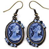 Blue Cameo Dangle Earrings Rhinestones Fashion Jewelry