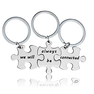 Yee Qin 3 Pcs We Will Always Be Connected Keychain Set, Necklace Set, Best Friends Jewelry, Gift For Sisters by Yeeqin