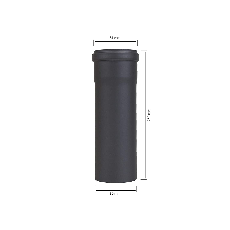 Pellet Pipe Pellet Stove Pipe Chimney Flue Extension 250/mm 500/mm 1000/mm//Diameter 80/mm Black