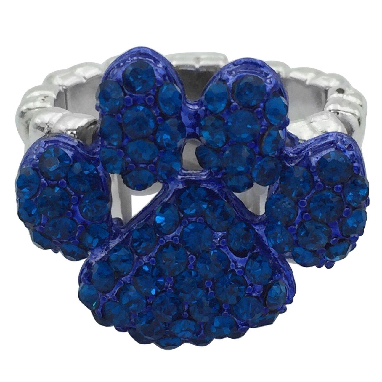 Gypsy Jewels Paw Print School Spirit Mascot Silver Tone Rhinestone Stretch Ring - Assorted Colors