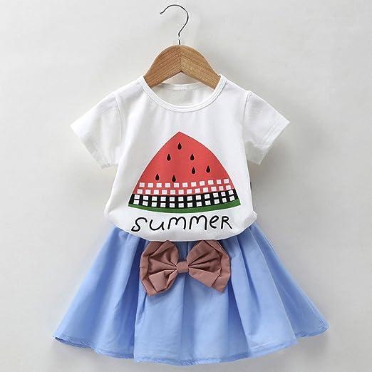 feiXIANG Conjunto de Ropa para bebé recién Nacido Camiseta para niña de Manga Corta con Estampado de sandía de niña niño niña Top + Conjunto de Falda con ...
