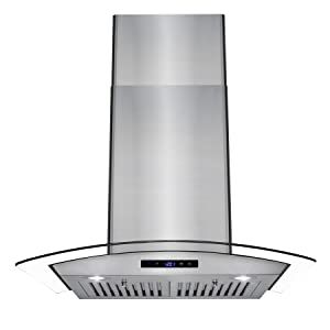 "AKDY 30"" Wall Mount LED Display Touch Control Panel Stainless Steel Tempered Glass Kitchen Cooking Vent Fan Range Hood"