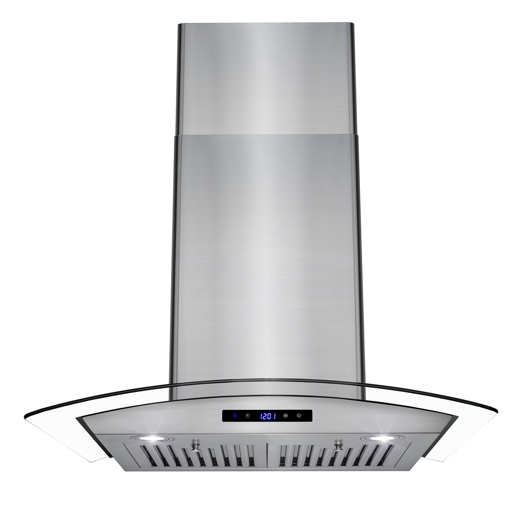 AKDY 30'' Wall Mount LED Display Touch Control Panel Stainless Steel Tempered Glass Kitchen Cooking Vent Fan Range Hood