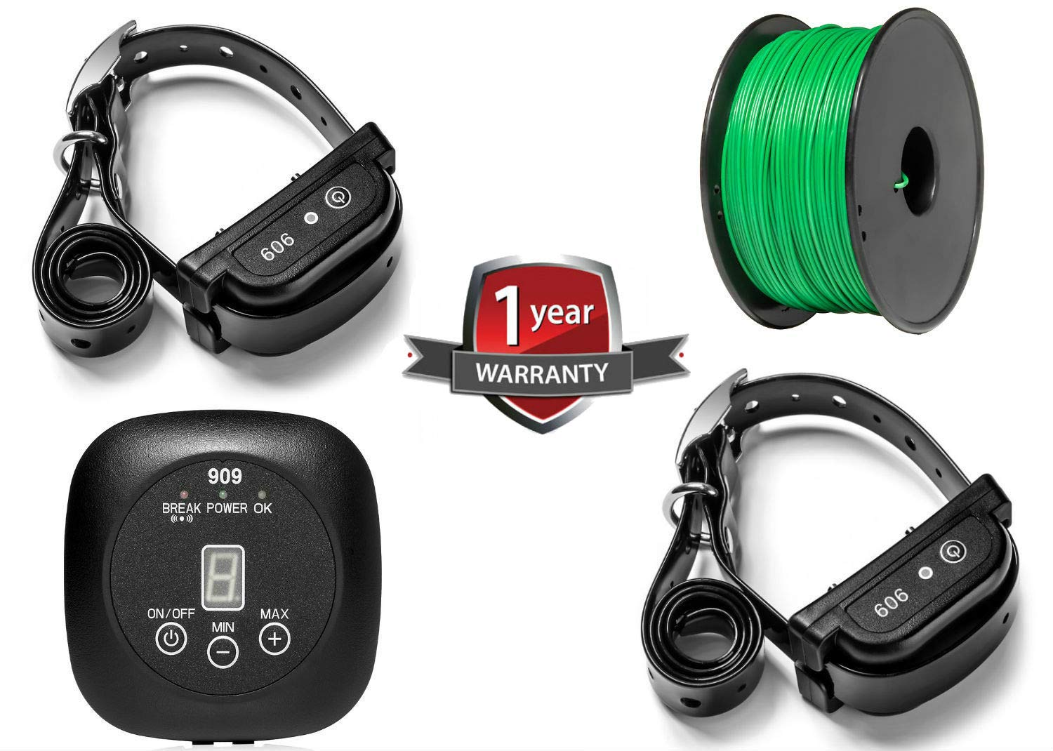 Earlyhights Electric Underground Outdoor Dog Containment System,5 Acre Range 500 Feet In Ground Wire, Small, Medium, Or Large Dogs Over 5 lbs