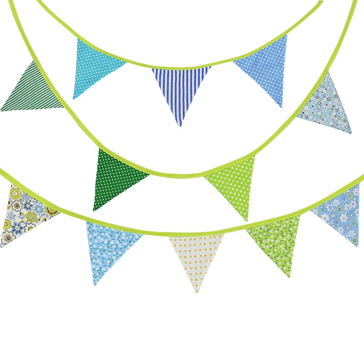 36 Piedi Bandierine Doppie Stoffa Partito Decorazione Esterna,Compleanno Multicolore Gagliardetto Ghirlanda da Decorazione con triangolari Bandiere Partito(10M)