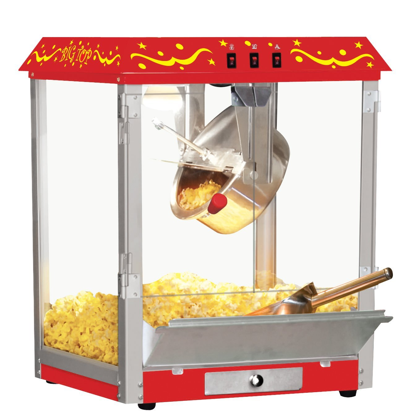 Northern Trail BW825CR Big Top Carnival Style Electric Table-Top Popcorn Machine with 8 oz Kettle, Red