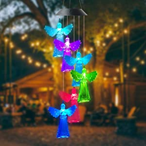 YXLM Solar Wind Chimes,Angel Wind Chimes, LED Solar Waterproof Color Change Wind Chime,Angel Gifts, Gifts for Mom Grandma,Garden Decor