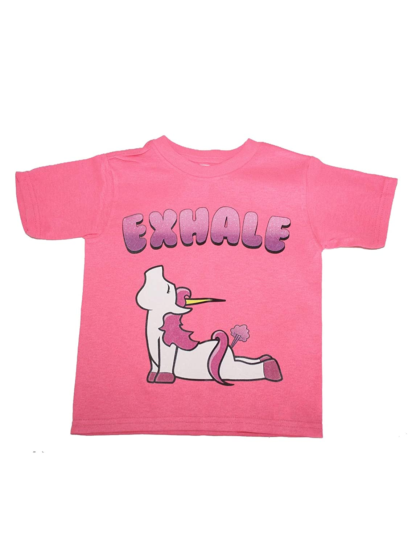 Unisex Little Kids Pink Unicorn Exhale Print Short Sleeve Cotton T-Shirt 2T-5