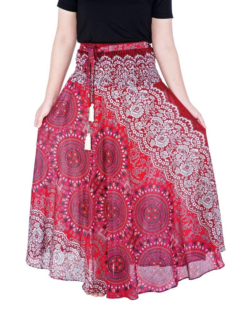 Lannaclothesdesign Women's Long Maxi Ankle Lenght Skirt Boho Skirts One Size Burgundy