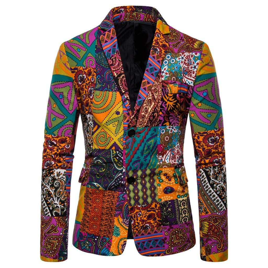 Mens Fashion Colorated Floral Print Suit Jacket Casual Blazer One-Button Lightweight Slim Fit Sport Coat for Weddings Prom Party Dinner Tuxedo M-4XL by VEZARON