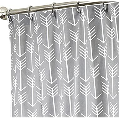 Arrow Gray Polyester Fabric Bathroom Shower Curtain Set with Hooks,60 x 72-Inch,Grey and White