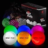 Glow Golf Balls with Mesh Bag   6 pcs Light Up Golf Balls   LED Light Glow Balls for Golfing   10 min Lighting Time…