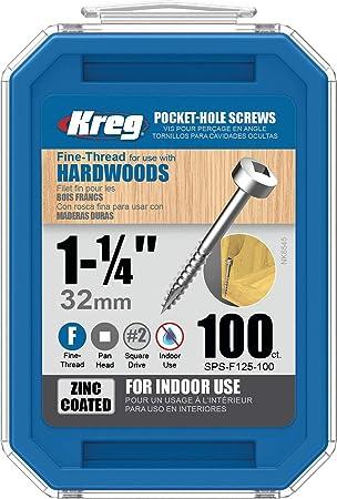 100 Kreg Pocket-Hole #6 Screws Fine, Panhead 1-1//4