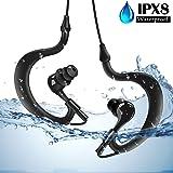 AGPTEK SE02 Sport Waterproof In-Ear Earbuds, IPX8 Adjustable Swimming Headphones, Black