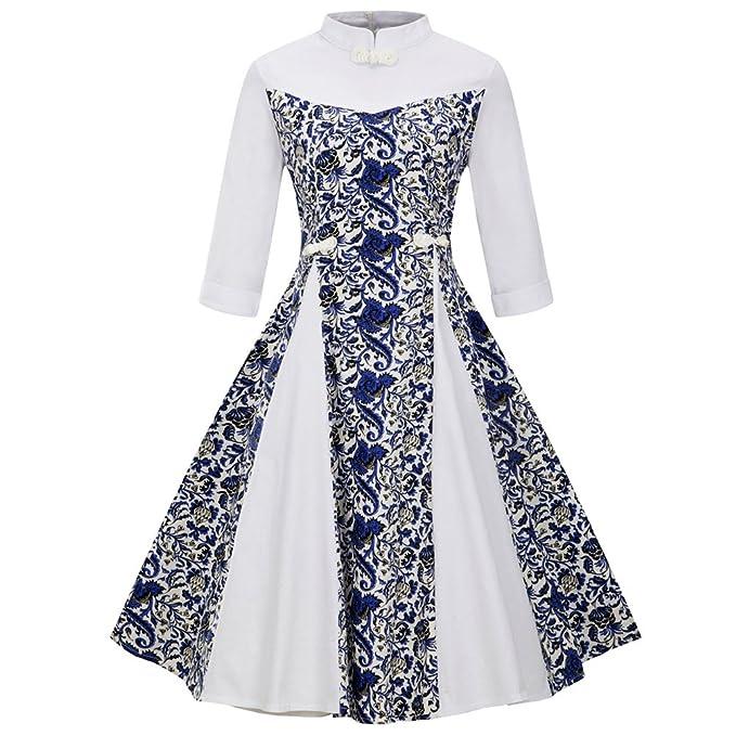 LINNUO Vestido de Porcelana Azul y Blanca Pin Up Vestido Fiesta Cóctel A Line Retro Rockabilly