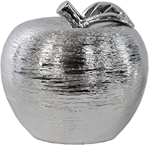 Urban Trends Porcelain Combed Polished Chrome Finish Apple Figurine Large Silver