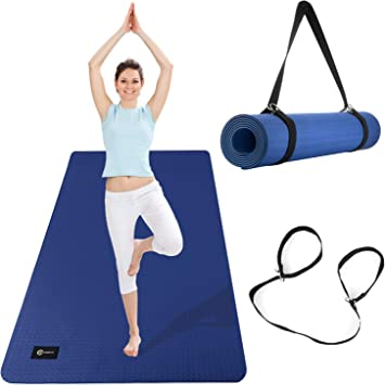 CAMBIVO Extra Wide Yoga Mat with Carrying Strap (73