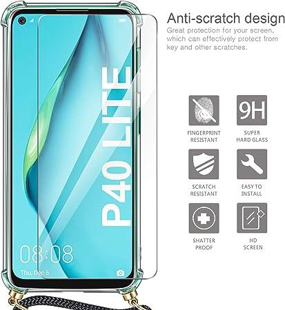 Caselover Funda para Huawei P40 Lite 5G Carcasa con Cuerda Transparente Silicona Case para P40 Lite 5G Colgar Ajustable Collar Correa de Cuello Cord/ón Funda Colgante para P40 Lite 5G Oro Rosa