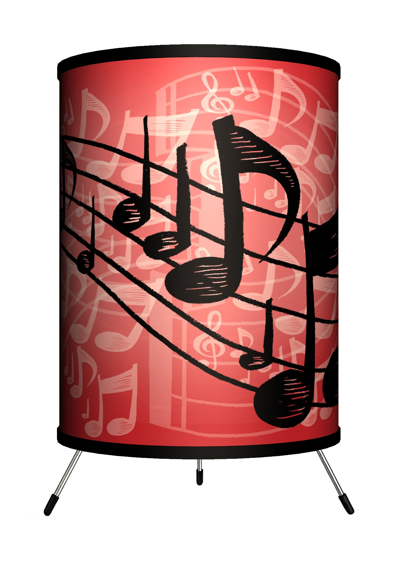 Lamp-In-A-Box TRI-MUS-REDNT Music - Red Musical Notes Tripod Lamp