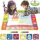 "EXSPORT Aqua Magic Mat 4 Color Children Water Doodle Magic Drawing Book Mat Board & 2 Magic Pens & 6 Drawing formwork Doodle Kids Educational Toy Gift for Boys Girls 31.5"" x 23.6"""