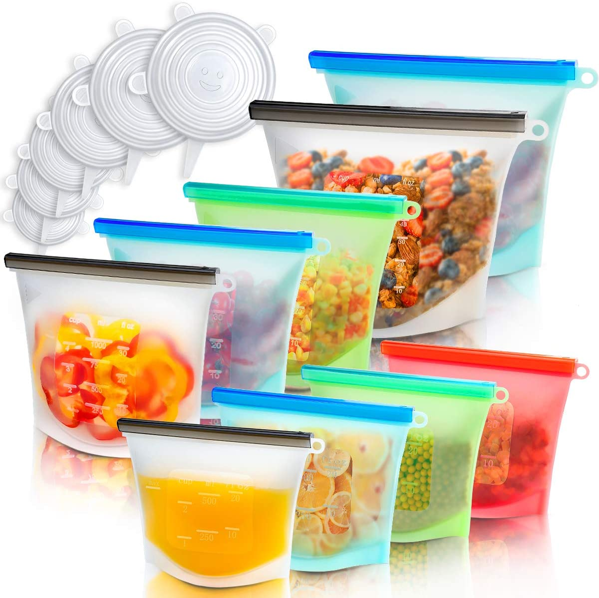 Reusable Food Bags(9 Pack) & Silicone Stretch Lids(6 Pack), Airtight Seal Food Storage Wrap Zip Top Silicone Containers for Vegetable, Liquid, Snack, Meat, Sandwich,Vide Lunch (bags+lids)