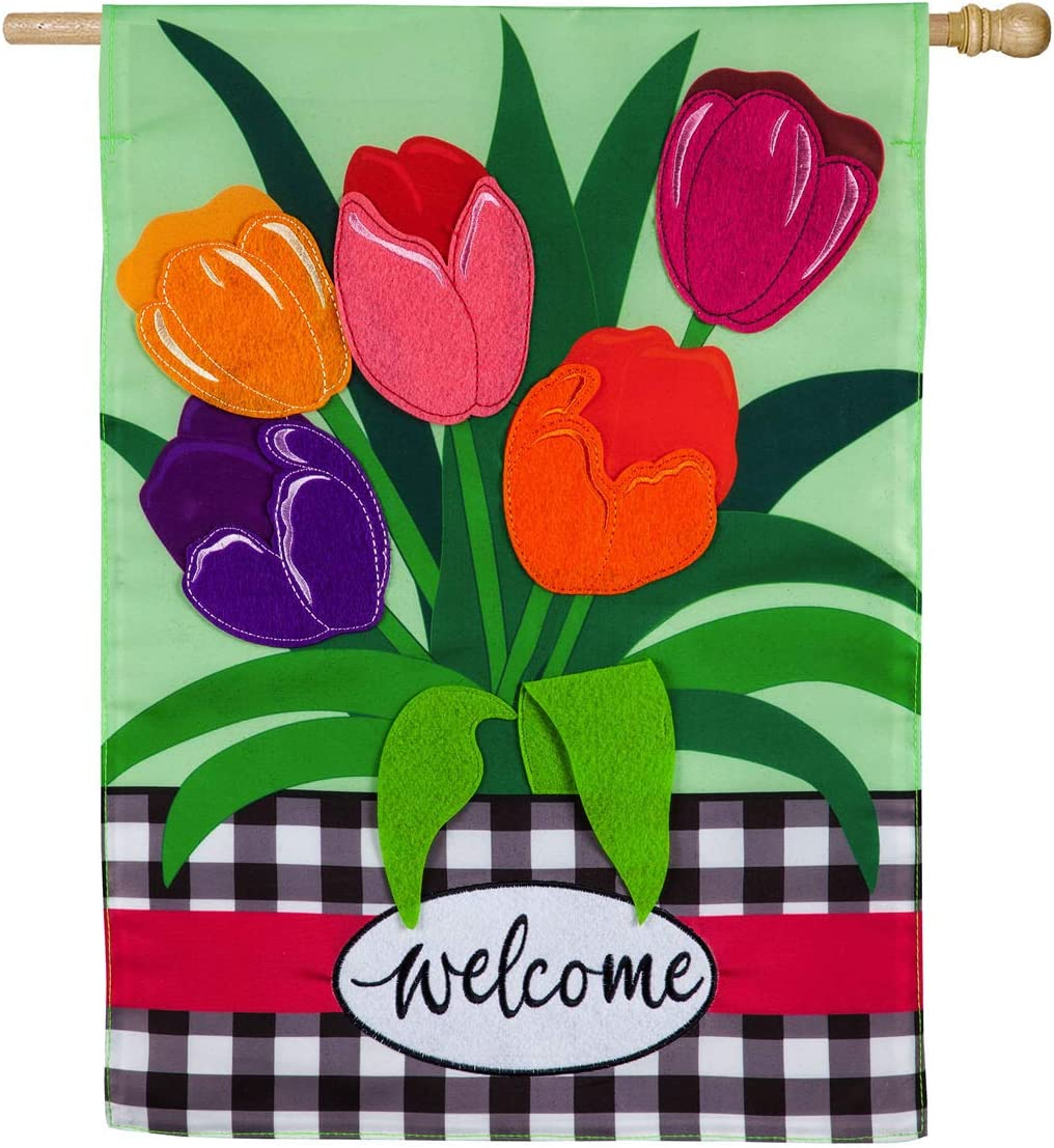 Evergreen Flag Indoor Outdoor Décor for Homes Gardens and Yards Welcome Spring Tulips House Applique Flag